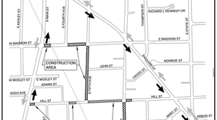 Detours for W Madison, S Fifth, Hill, S Division, E Hoover (Oct 26 to Nov 30)