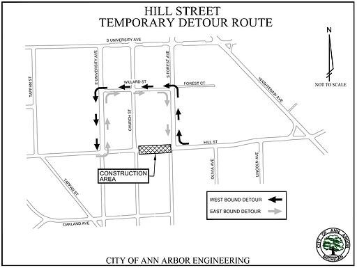 Hill Street Traffic Control Plan Aug 5-13