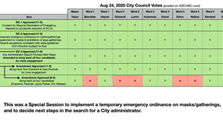 City Council Voting Chart for Aug 24, 2020