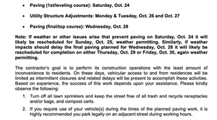 RESCHEDULED: Granger Road Final Paving Scheduled Oct 22-28