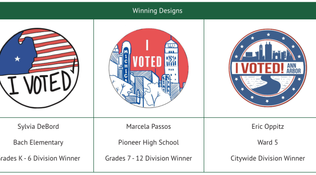 "Results Announced for Ann Arbor's ""I Voted"" Sticker Design Contest"
