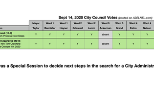 City Council Voting Chart for Sept 14, 2020