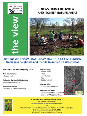 Friends of Greenview and Pioneer Woods Spring Workday May 18th