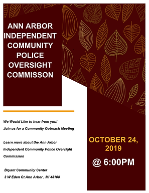 Independent Community Police Oversight Commission Community Outreach Oct 24th