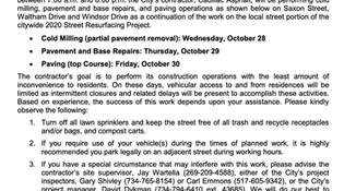 RESCHEDULED: Saxon, Waltham, Windsor Final Paving Scheduled Oct 28-30