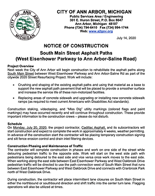 South Main Street Asphalt Paths Construction starts July 20th