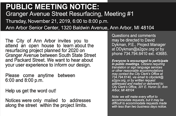 Granger Ave resurfacing public meeting Nov 21st