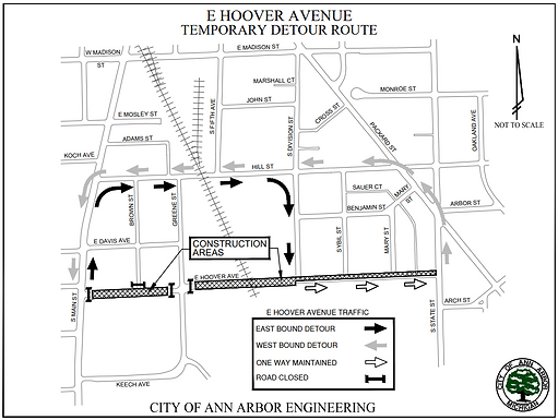 Hoover Ave traffic control plan June 12th to July 26th