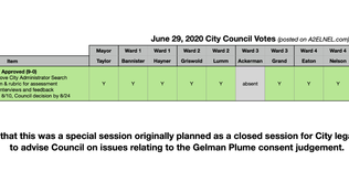 City Council Voting Chart for June 29, 2020