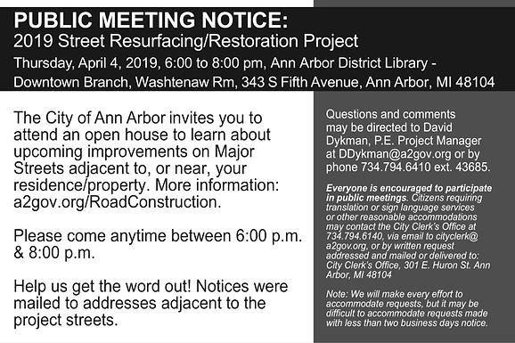 April 4th meeting for 2019 Street Resurfacing/Restoration
