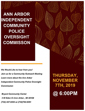 Independent Community Police Oversight Commission Community Outreach Nov 7th
