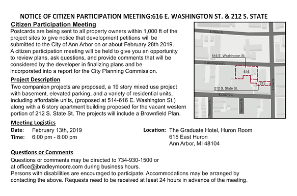 Feb 13th meeting for 616 E Washington St & 212 S State St