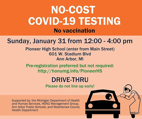 No-Cost COVID-19 Testing Jan 31st at Pioneer High School