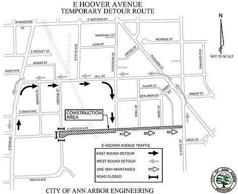Traffic control plan May 6th-30th on Hoover Ave