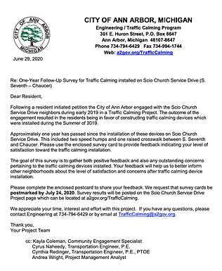 Scio Church Service Drive Traffic Calming Survey due July 24th