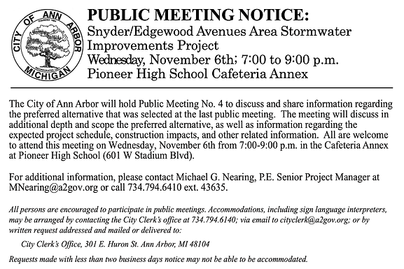Nov 6th meeting about Snyder Edgewood Stormwater Improvement Project