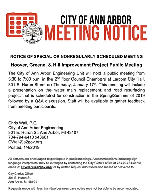 Jan 17th meeting about Hoover, Greene & Hill Improvement Project