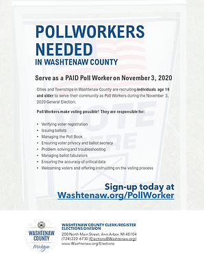 Poll Workers needed in Washtenaw County