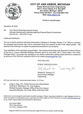 Jan 17th meeting about Scio Church Road Improvement Projects