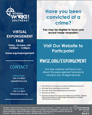 Virtual Expungement Fair Oct 16th hosted by Michigan Works! Southeast