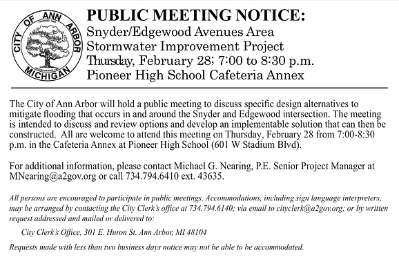 Feb 28th meeting about Snyder Edgewood Stormwater Improvement Project