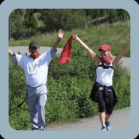 two people celebrating a successful run