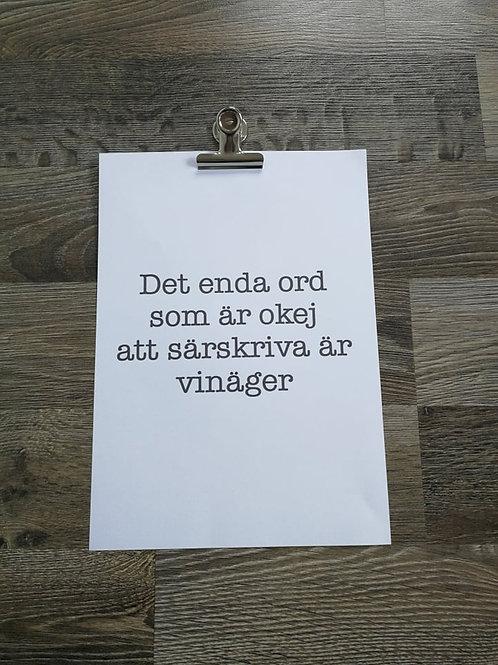 Poster, Vinäger