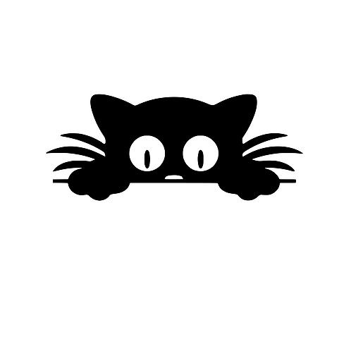 Katt att fästa över lampknapp, väggdekal