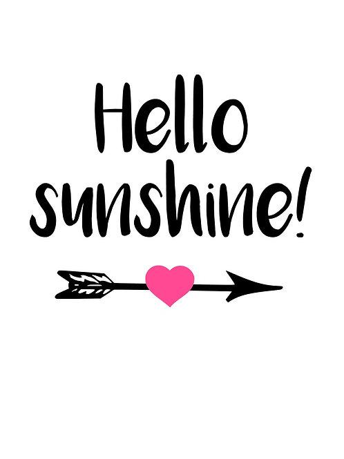 Hello sunshine + pil + hjärta