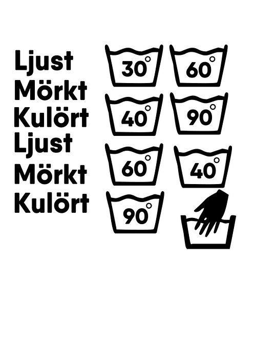 Tvättsymboler till tvättkorg