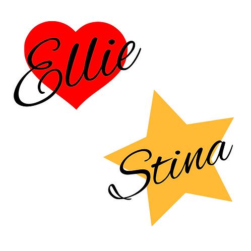 Hjärta/stjärna med namn, flerfärgstryck