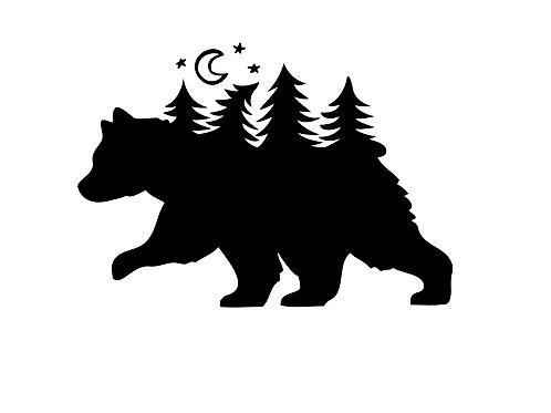 Björn med måne och skog