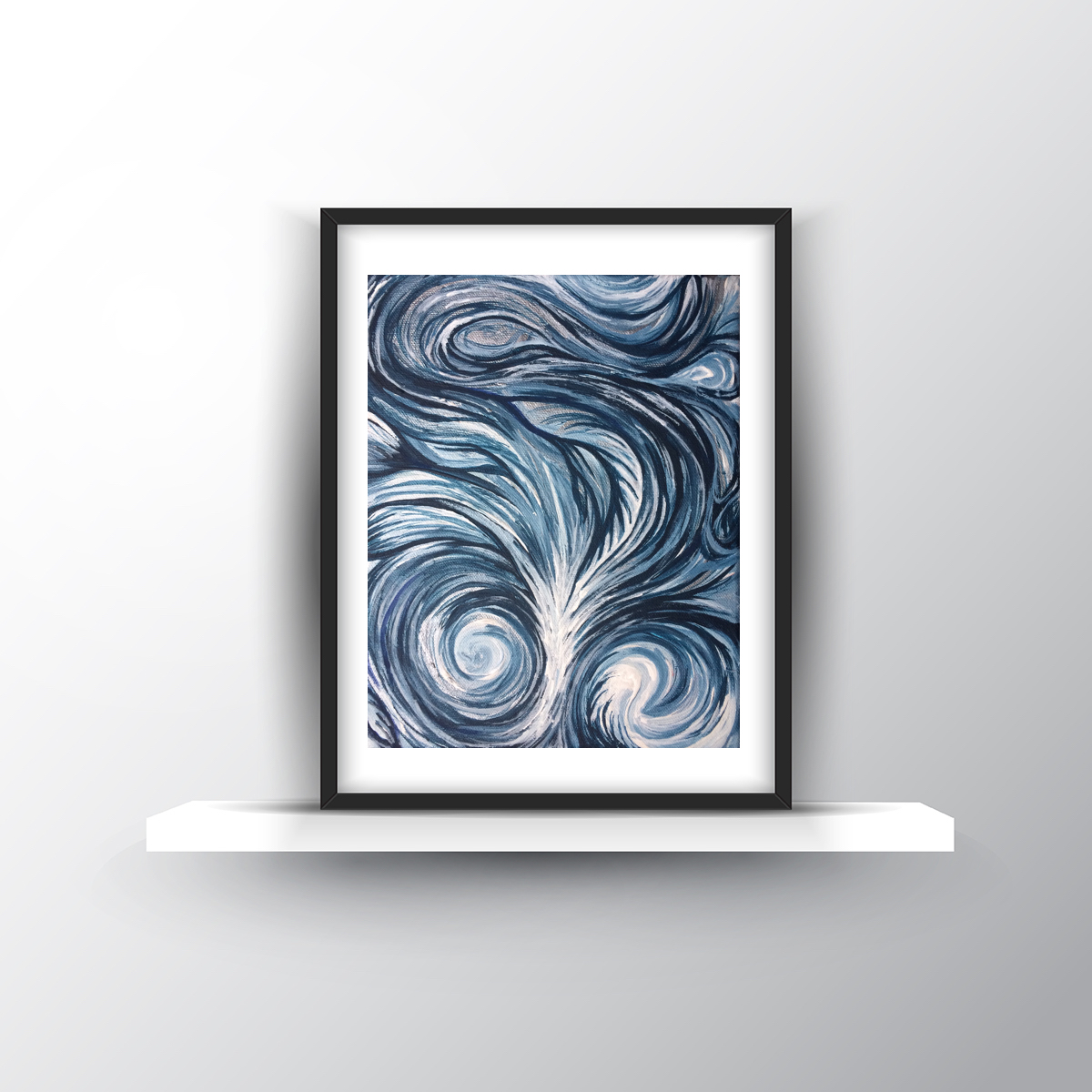 8x10in  Untitled Navy Swirl SOLD