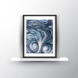 8x10in  Untitled Navy Swirl SOLD