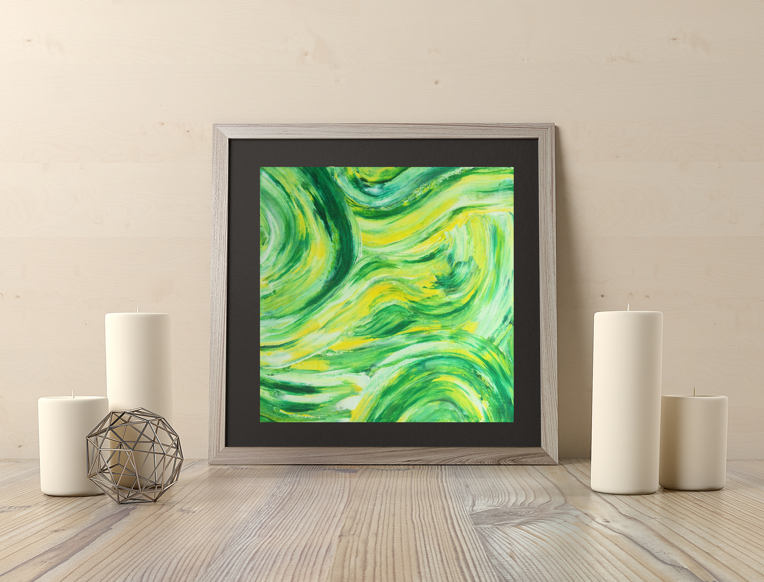 Green yellow swirl 8x8in $35