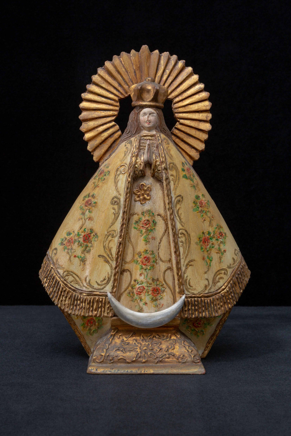 Hand painted wooden Madonna statue from Poland – circa 1970's - a gift from George Jalbert (aka Chenile) to his landmate Assunta Femia - Sister species of Crow.