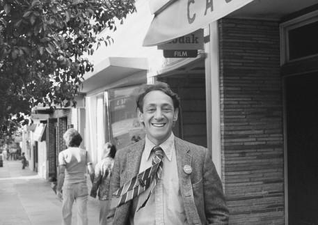 Harvey Milk in front of his Castro Street camera store - circa 1977