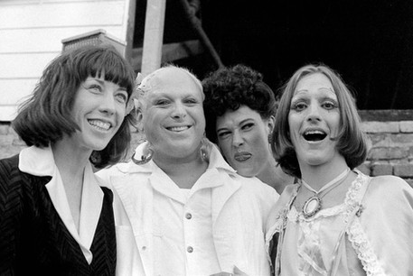 Lily Tomlin, Divine, Sister Ed and Cockette Pristine Condition at an autograph party for Divine at the Bakery Cafe on Castro - 1975