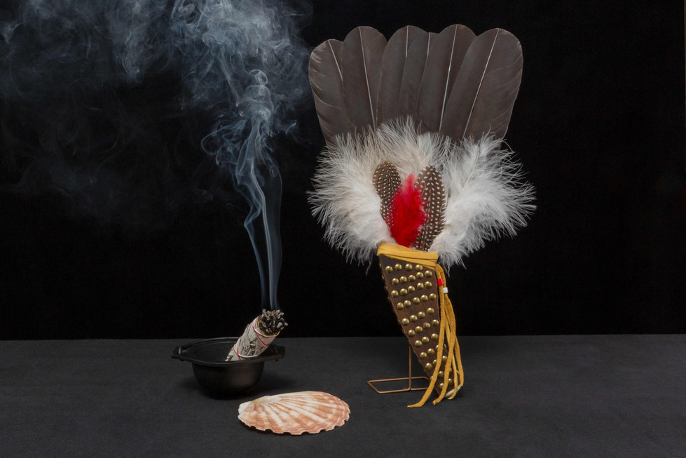 Smudge fan by Ken Fenstermacher (Osage tribe descendant) - (made from guinea hen and hand painted turkey feathers - sourced from a wholesaler of indigenous arts materials).