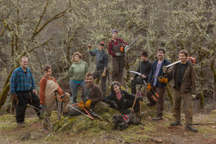 Radical Faerie Sanctuary - Forestry Camp - February 4, 2016 (l to r: Randy - Oren - Grace - Aleph - Sawyer - Charli Darling (front) - Flicker - Harlan - Howl - Stevia)
