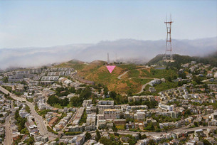 The Pink Triangle commemorative installation on Twin Peaks, (founded by Patrick Carney and friends in 1995)