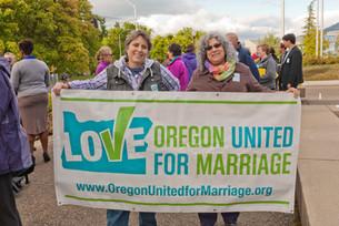 Devin Dorn and Bonnie Biehl-Cameron - marriage equality rally - Medford - Oregon - April 22, 2014