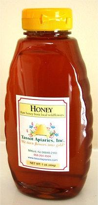 1 lb wildflower honey in plastic jar
