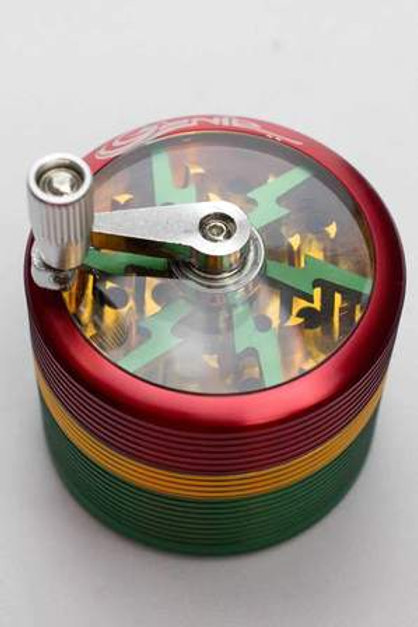 Genie 4 parts rasta herb grinder with handle