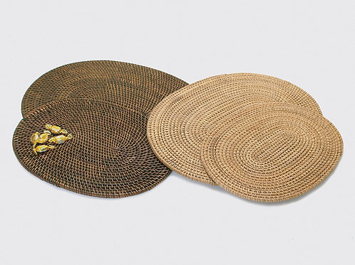 "Oval Rattan Placemat 15"". Brown"