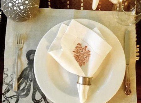 Hand-printed linen napkins, runners & tablecloths by The Global Galavant