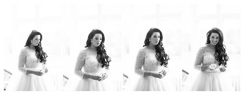 4 photo sequence of bride holding perfume on her wedding day