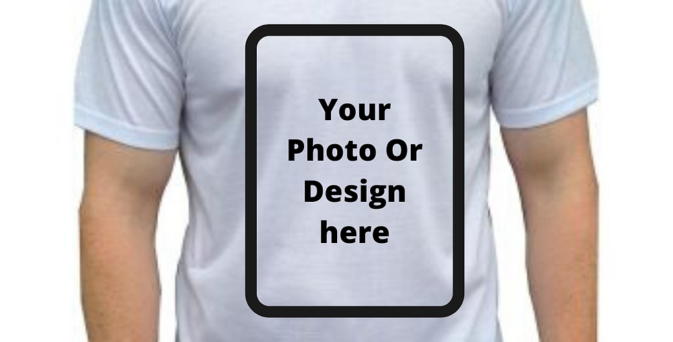 White Polyester T-Shirt With Any Design Or Photo Sublimation Printed