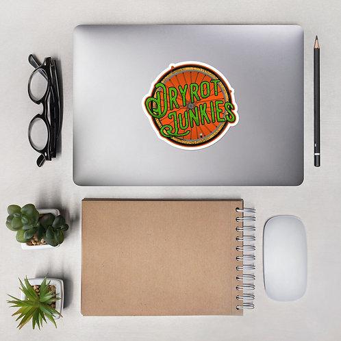 Bubble-free stickers - Dryrot Junkies Official Logo w/ orange background