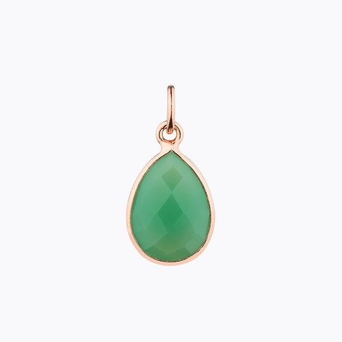 GEMSTONE DROP PENDANTS - CHRYSOPRASE ROSE GOLD